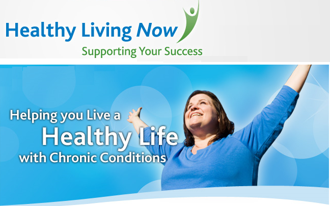 Image of a woman spreading her arms out and upwards in front of a blue sky. Also contains the text Healthy Living Now - Supporting Your Success and Helping you live a Healthy Life with Chronic Conditions